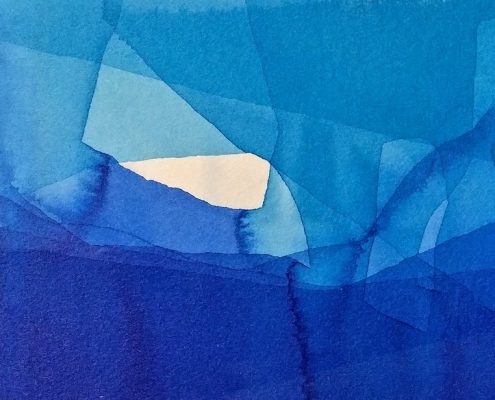 watercolour painting with layers of blue overlaying to produce darker blues, by Fernanda Junqueira