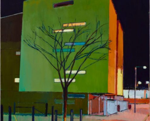 Oil painting by Daniel Preece of a city scape at night with green light on the side of a modern building