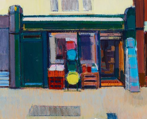 a painting in acrylic of a DIY shop with a range of colorful buckets piled up outside