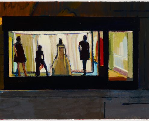 a painting of a bright shopfront with dressed mannequins seen from outside at night