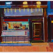 Acrylic painting of a shopfront predominantly warm reds, by artist Daniel Preece