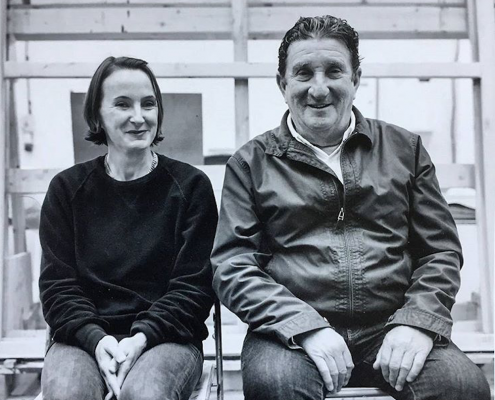 Flora and Bruce McLean, B&W photo