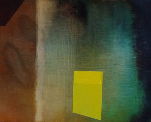 abstract oil painting with lemon yellow rectangle