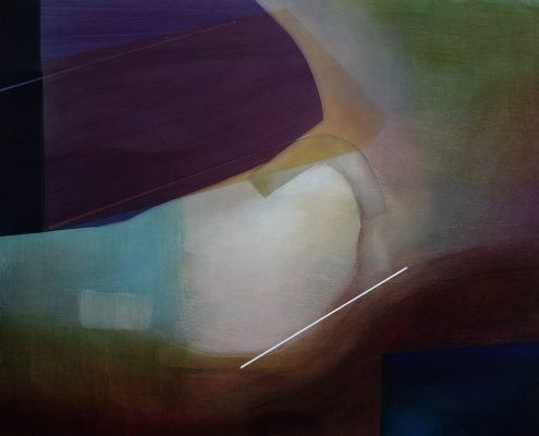abstract oil painting in purple and green