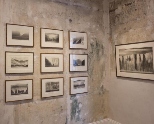 First floor gallery shot of a series of Norman Ackroyd etchings.