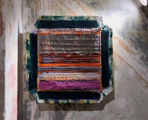 small abstract oil and stitched painting Sandra Beccarelli