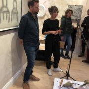 Paul Freeman and Anna Bingham, sound performance in the gallery with ceramic vessels in the foreground
