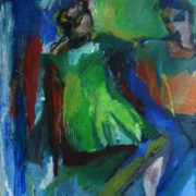 oil painting of woman in bright green dress
