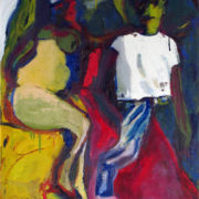 semi- abstract oil painting of a couple- a man in a white t-shirt and stripey trousers and a woman in pale yellow