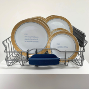 photo of dishwasher tray with plates and text