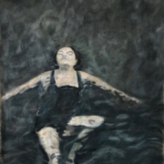 painting of a swimmer