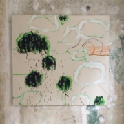 abstract painting in greens