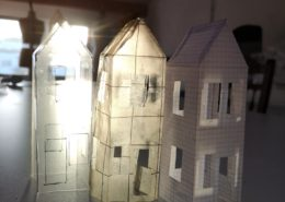 paper sculpture of houses