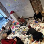 photo of participants at a collage Workshop at One Paved Court