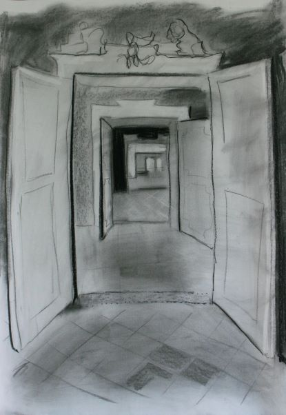 black and white drawing of enfilade interior