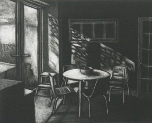 drawing in black and white of morning sunlight on tables and chairs