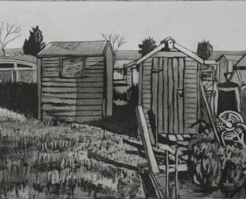 Peg Morris etching of Sheds and Shadows