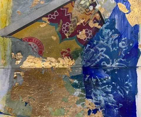 abstract painting with indian block printing textures
