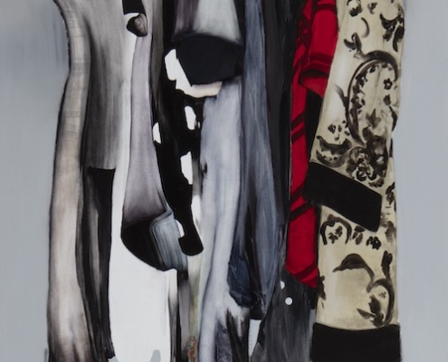 painting of dresses hanging in a wardrobe