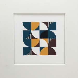 abstract geometric print in brown yellow and teal