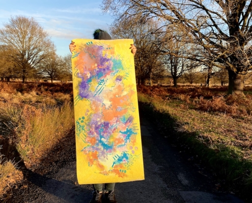 taking abstract painting into the park