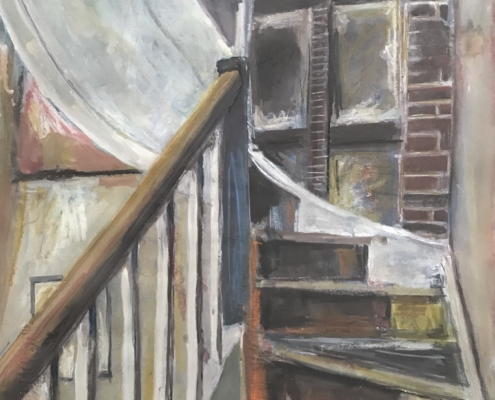 Mixed media drawing of the staircase at One Paved Court by Peg Morris