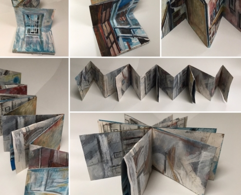 Composite photo showing concertina sketchbook made from a single piece of pre-painted/collaged paper from several angles