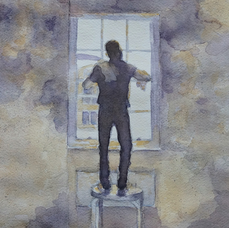 watercolour of a window cleaner